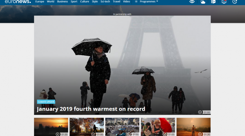 January 2019 fourth warmest on record